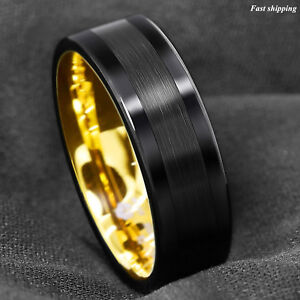 Jewelry & Watches Precise Stainless Steel Striped 8mm Black Plated Brushed/ Wedding Ring Band Size 12.50