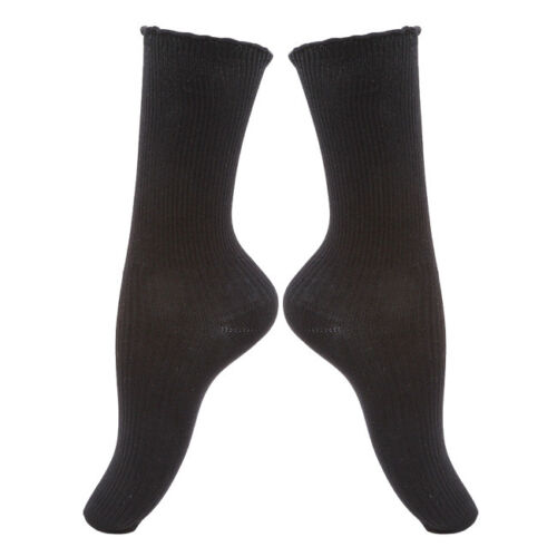 Women Girls Ankle Retro Cotton Loose Plain Solid Color High Socks Winter Warm 6A