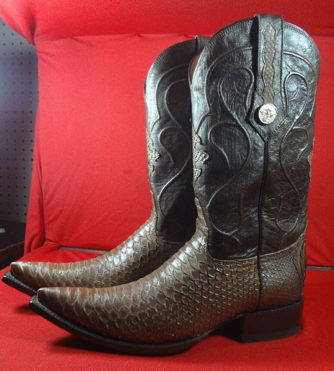 Nuevo Para hombres Cuero Genuino Piel de serpiente real python botas De Vaquero Rodeo Occidental C37