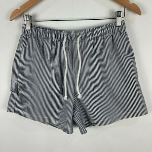 Zara-Mens-Shorts-Medium-W31-Grey-Striped-Elastic-Waist-Drawstring-Pockets