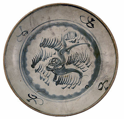 17th Century Strong Packing Hội An Area Aggressive Ancient Vietnamese Blue And White Plate 16th