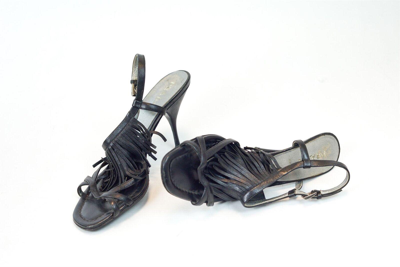 Prada Noir Bride Cheville Talons Sandales Escarpins, UK 5 US 8 EU 38