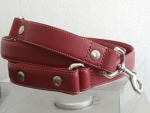 338626a7 Details about COACH RED LEATHER L LARGE L DOG LEASH WITH COACH GROMMETS FOR  COACH DOG COLLARS