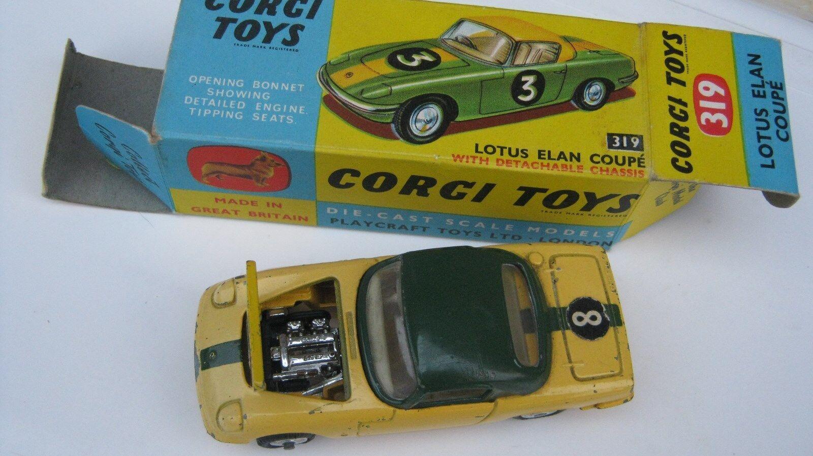 CORGI 319 LOTUS ELAN COUPE  GOOD ORIGINAL UNTOUCHED CAR IN GOOD ORIGINAL BOX