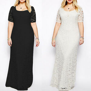 Details about Women\'s Plus Size Elegant Lace Party Dress Short Sleeve  Summer Long Maxi Dress
