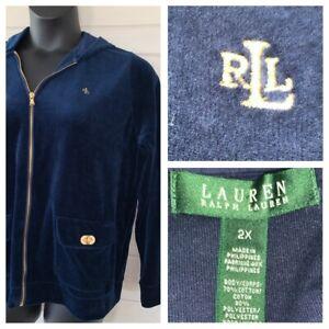 Ralph-Lauren-LRL-Sz-2X-Rich-Blue-Velour-Full-Zip-Hoodie-Embroidered-Logo-Jacket