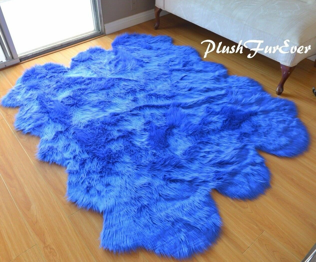 58  x 72  Royal Blau Sheepskin Sixto Area Rug Acrylics Nursery Accents Cute Rugs