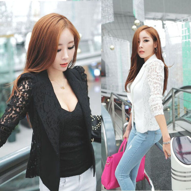 Fashion Sexy Women Blouse Long Sleeve Jacket Lace Crochet Slim Blazer Korean Top