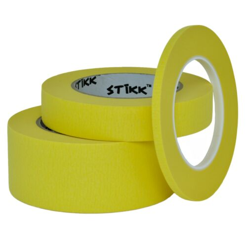 "3 pack 1//4/"" .25 inch x 60yd Thin STIKK Yellow Painters Masking Tape 6mm x 55m"