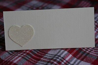 10 Avorio Nome Segnaposto Con Crema Carta Glitter Cuore- Diversificato Nell'Imballaggio