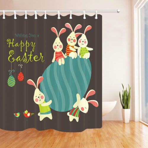 Wish You Happy Easter Rabbits Eggs Bathroom Fabric Shower Curtain Set 71Inch
