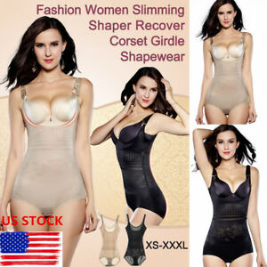 e4d9277ab9b43 Image is loading Women-Full-Body-Waist-Trainer-Bodysuit-Shaper-Underbust-