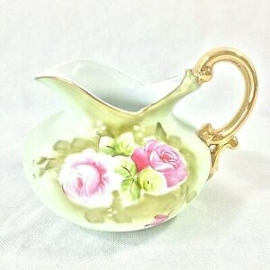 LEFTON-CHINA-GREEN-HERITAGE-ROSE-SQUAT-POT-PITCHER-5586-MADE-IN-ONE-YEAR-1969