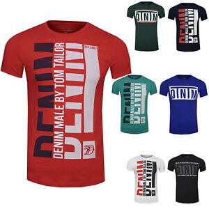TOM TAILOR Denim Herren Sommer T-Shirt mit Brust Print Aufdruck 1011975
