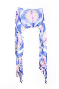 Cotton Batik Print Large Scarf Neon White Pink And Neon Tassels