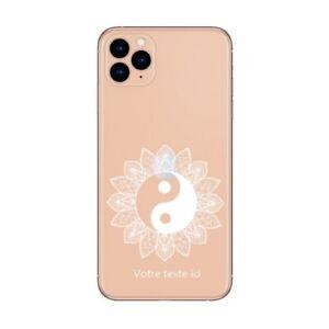 Coque Iphone 12 PRO MAX yin yang blanc mandala personnalisee