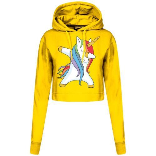 Dabbing Unicorn Ladies New SweatShirt Hoodie Inspired Cropped Bodywarmer Hood