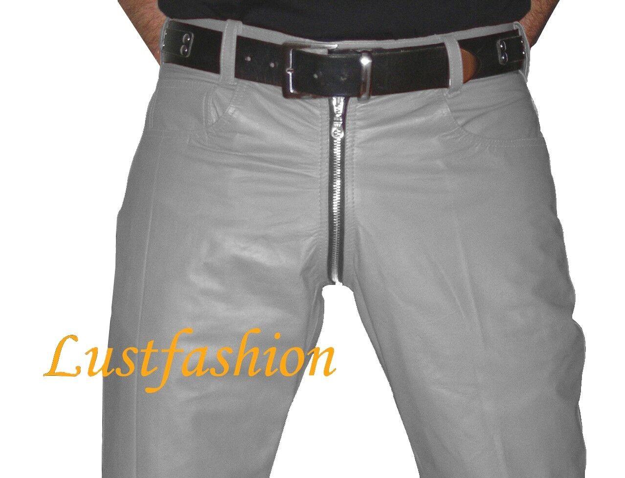 LEDERHOSE grau durchgehender Zip Lederjeans  gay leather trousers pants grau