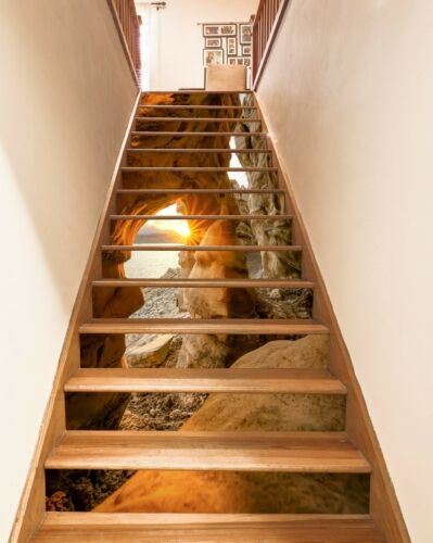 Details about  /3D Sunlight Cave ZHU587 Stair Risers Decoration Photo Mural Vinyl Wallpaper Amy