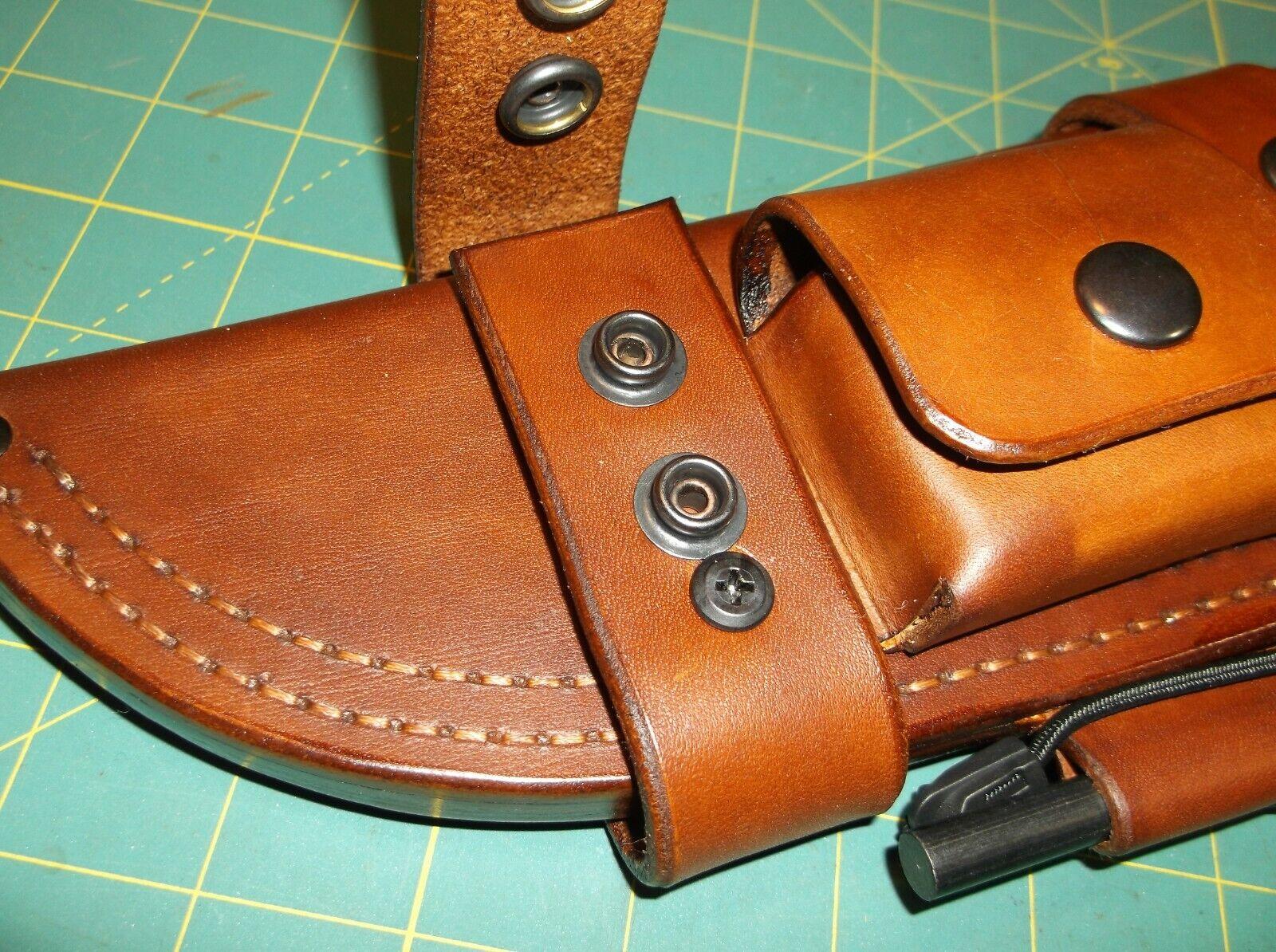 KaBar Becker Knives /'The Massacre/' Custom Leather Bushcraft Scout Sheath