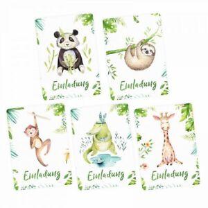 Das Bild Wird Geladen 5 Einladungskarten SET Krokodil Panda Inkl Umschag  Kindergeburtstag