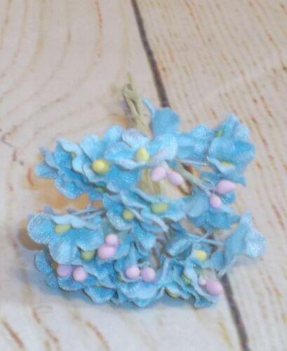 Crafts scrapbook Lt.Blue VINTAGE style Velvet FORGET ME NOT flowers//pick Dolls