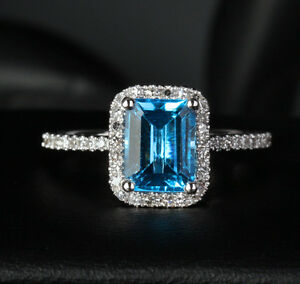 6x8mm Emerald Cut Blue Topaz Engagement Pave Diamonds Ring 14k White Gold 6 Ebay