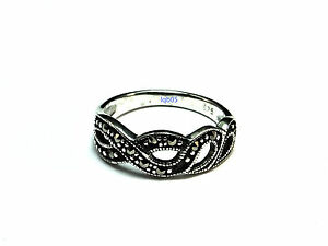 Image Is Loading New Sterling Silver Plait Marcasite Wedding Band Ring