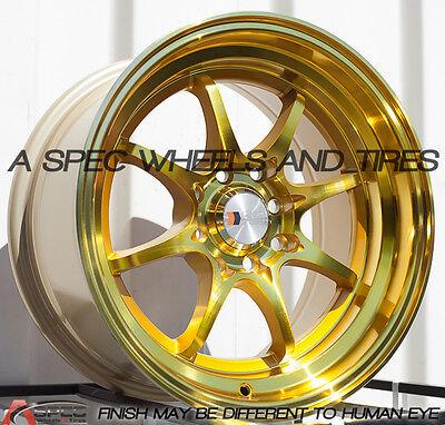 F1R F03 15x8 4x100/114.3 Et25 Machine Gold set of 4