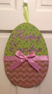 NEW-Happy-EASTER-Egg-Shaped-Hanging-SIGN-Decor-Decoration-Wall-Door