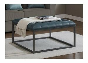 Modern Tufted Ottoman Teal Leather Metal Wood Accent Coffee Table
