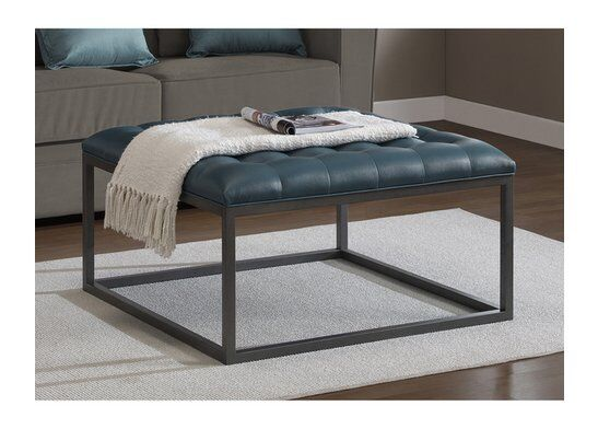 Modern Tufted Ottoman Teal Leather Metal Wood Accent Coffee Table Upholstery Ebay