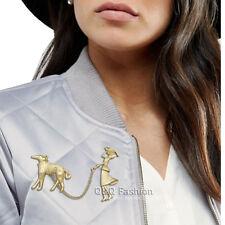 Art Deco 1920 Flapper Lady Gold Chian Greyhound Dog Hat Lapel Pin Badge Brooch