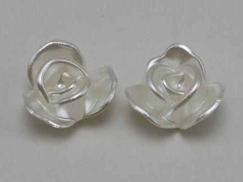 25 Marfil Perla Flor Cabujones Dorso duro para Libros de acrílico 20 mm Scrapbook Craft