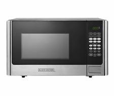 Black+Decker 900 Watt 0.9 Cubic Feet Counter Microwave Oven, Stainless Steel