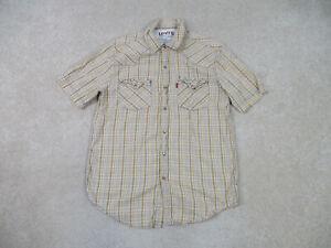 Levis Pearl Snap Shirt Adult Medium Yellow Brown Western Rodeo Cowboy Casual Men