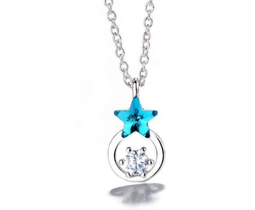 Crystal Star Pendant Necklace 925 Sterling Silver Stud Earrings Womens Jewellery