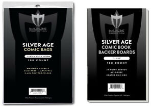 100-Max-Pro-Silver-Age-Comic-Book-Archival-2-mil-Bags-Acid-Free-Backer-Boards