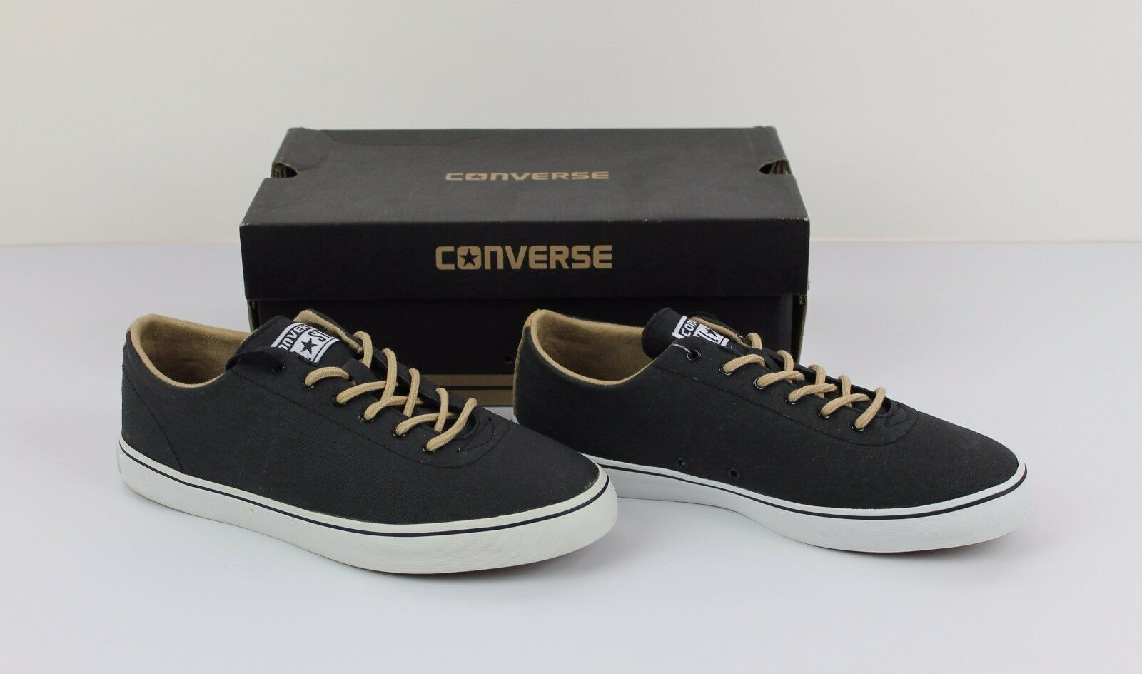 63ec1b6daa7fd5 New CONVERSE ELM LS OX Black Tan Stake Stake Stake Shoes Sneakers Men s 7  Women s 8.5 NIB f830de