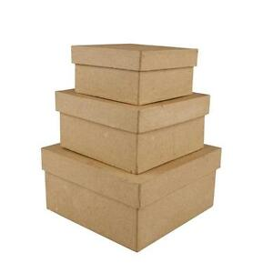 3-Square-Shaped-Boxes-Craft-Storage-Brown-Paper-Mache-Hand-Made-10-x-12-5-x-15cm