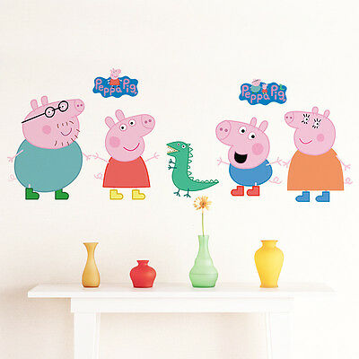 Peppa Pig Art Removable Wall Stickers kids Baby Bedroom Nursery Decor Decal