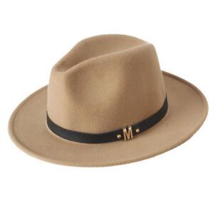 Fashion Wool Women Fedora Hat Woolen Wide Brim Jazz Church Cap ... 66b8a66dfe20