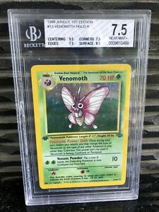 Pokemon-Card-BGS-7-5-MINT-1st-Edition-Venomoth-Jungle-13-64-Rare-Holo-PSA