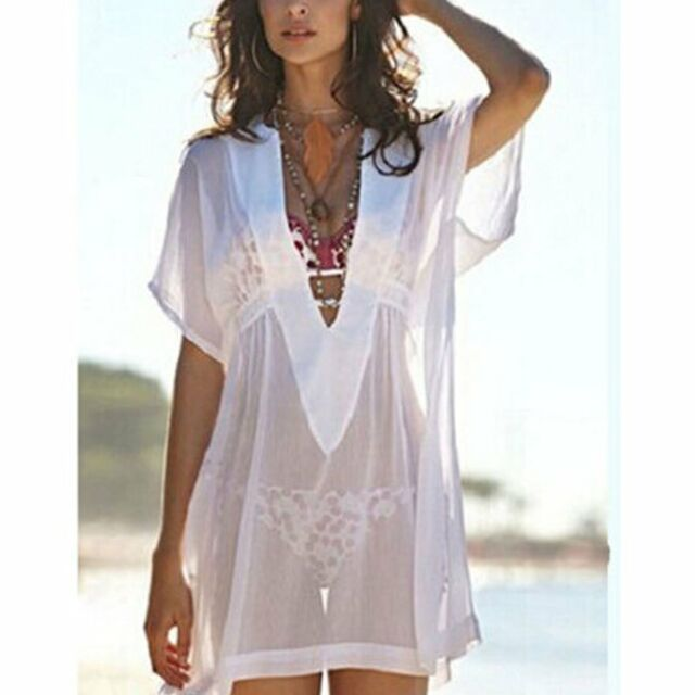 Summer Women Boho Chiffon Bikini Cover up Beach Dress Sexy Bathing Swimwear