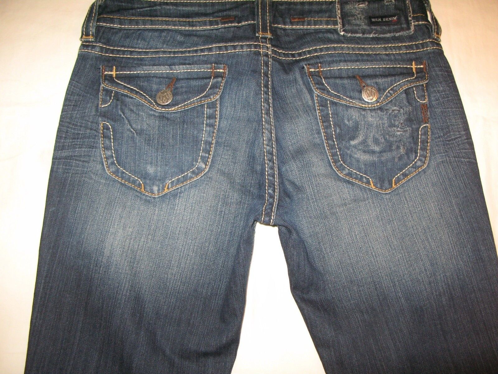 MEK Jeans Womens Tacoma Low Bootcut Dark Distressed Sz 30