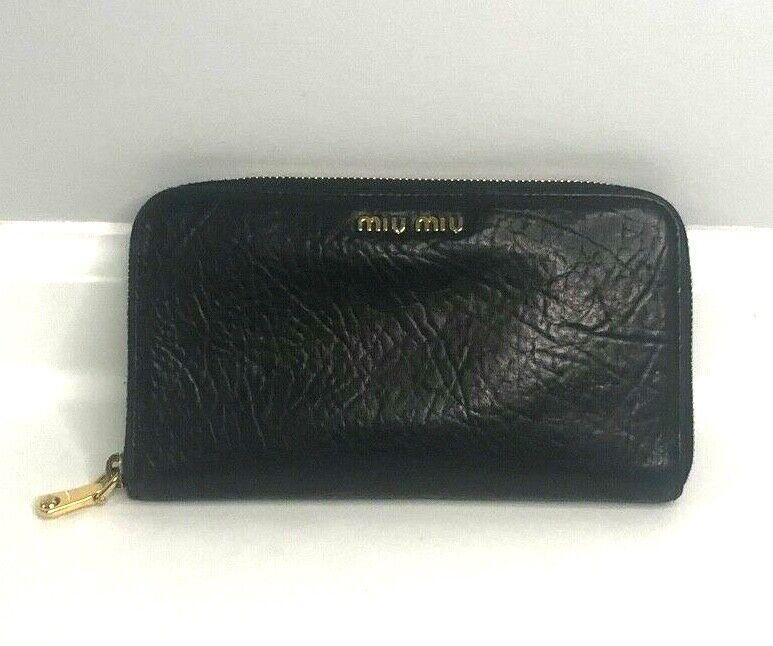 Miu Miu Black Distressed Leather Zip Around Wallet