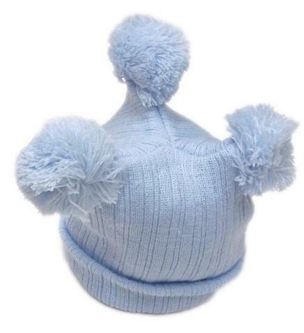 GIRL//BOY RIB 3 POM POM  BOBBLE HAT  0-6 6-12 MONTHS BLUE//PINK//CREAM PESCI