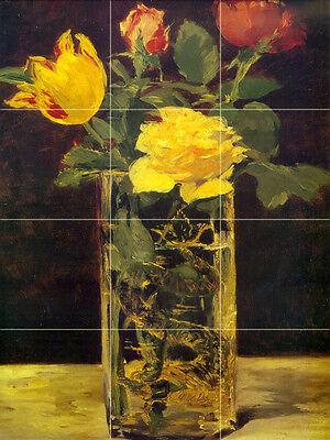Art Vivid Flowers Vase Mural Tumbled Marble Backsplash Bath Kitchen Tile #198