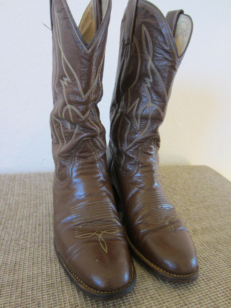 Western Americana, marrón de cuero, botas de vaquero tamaño 9