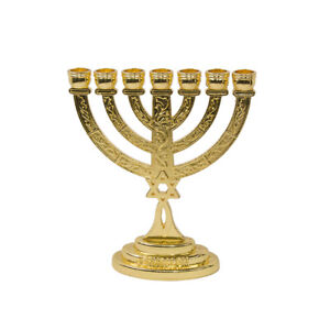 Gold-Plated-Menorah-7-Branched-w-Star-of-David-amp-Jewish-Ornament-Gift-3-8-inch